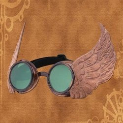 winged goggles silver