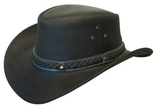 Crushable Black Leather Australian Hat - Black, Large