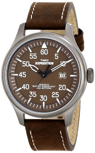 Men's Expedition Military Field Brown Leather Band Watch