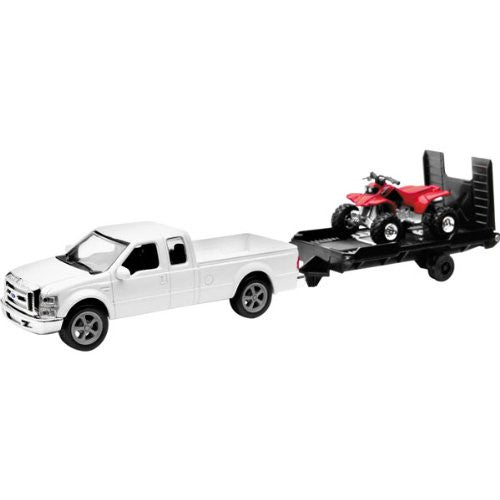 New Ray White Ford F250 with Trailer and Honda ATV Replica Truck Toy - 1:43 Scale