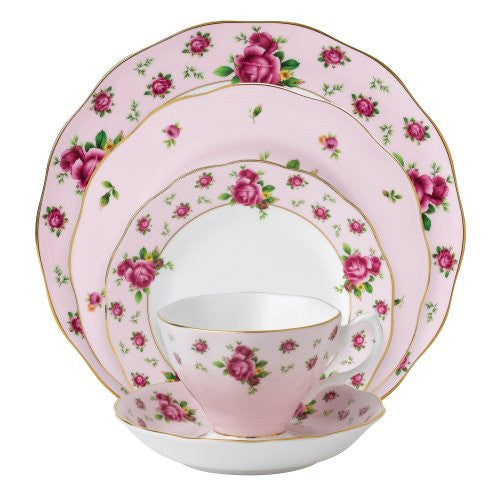 NEW COUNTRY ROSES PINK VINTAGE 5-PIECE PLACE SETTING
