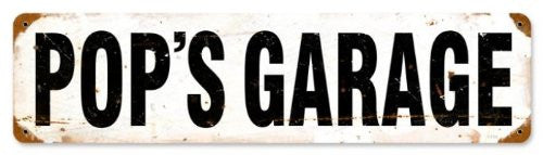 Pop's Garage vintage metal sign measures 5 inches by 20 inches