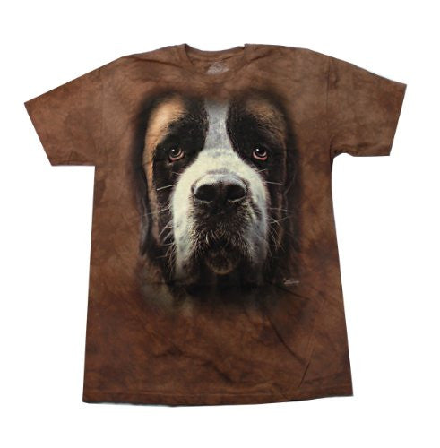 Saint Bernard Face, Loose Shirt - Brown Adult X-Large