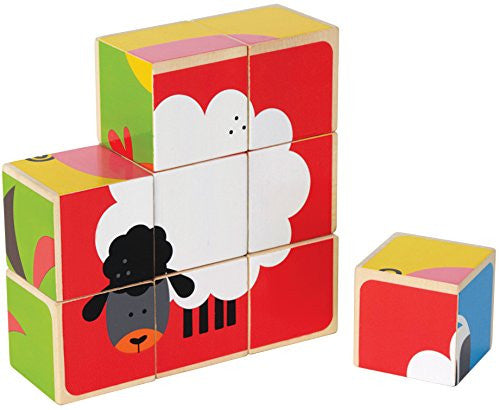 Hape Happy Puzzle - Farm Animals Block Puzzle Toy