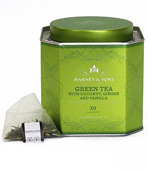 HRP Green Tea W/ Coconut & Ginger - 30 Sachet Tin
