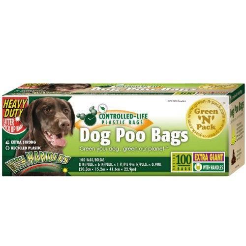 Dog Waste Bags, Extra Giant, Heavy Duty, Handle Ties,100-Count