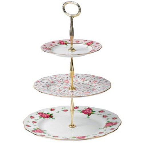 NEW COUNTRY ROSES WHITE VINTAGE CAKE STAND THREE-TIER (NCR WHITE, ROSE CONFETTI, NCR PINK)