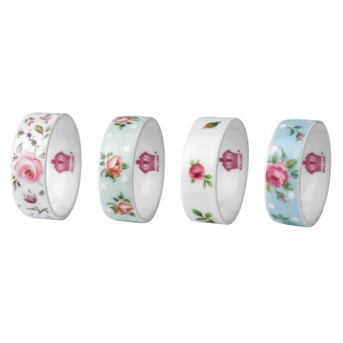 NEW COUNTRY ROSES MIXED PATTERNS NAPKIN RINGS SET/4