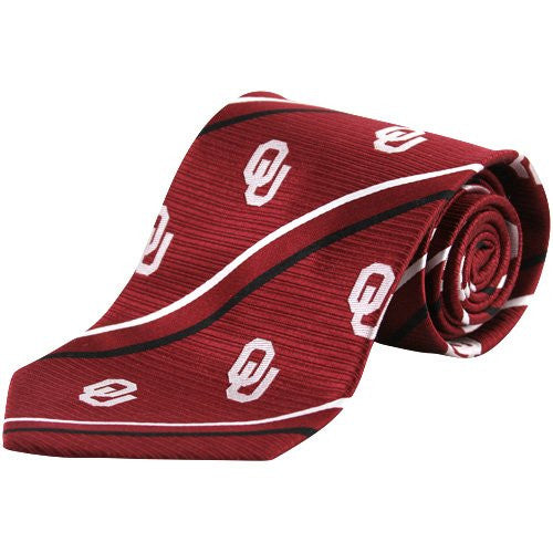 Oklahoma Sooners Tie Cambridge Stripe Woven Silk