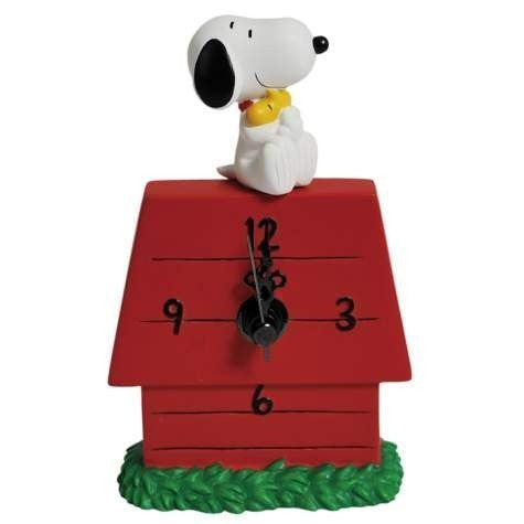 Snoopy Hugging Woodstock Desk Clock