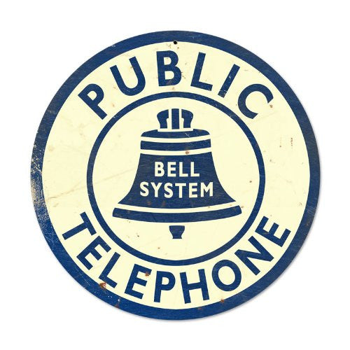 Bell Telephone round metal sign measures 14 inches by 14 inches