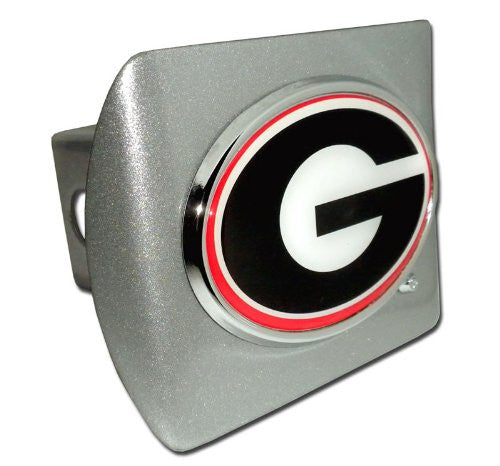 "Georgia (""G"" with Color) Brushed Chrome Hitch Cover"