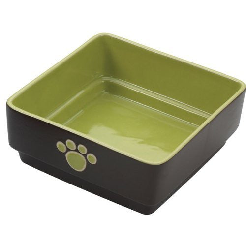 "FOUR SQUARE DISH 7"" DOG GREEN"