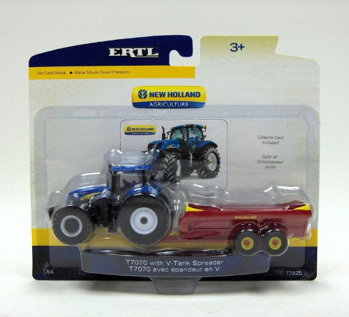 Tomy ERTL New Holland Agriculture - T7070 w/ V-Tank Spreader Farm Tractor (1/64 scale diecast model car, Blue)