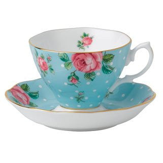 POLKA BLUE TEACUP & SAUCER SET