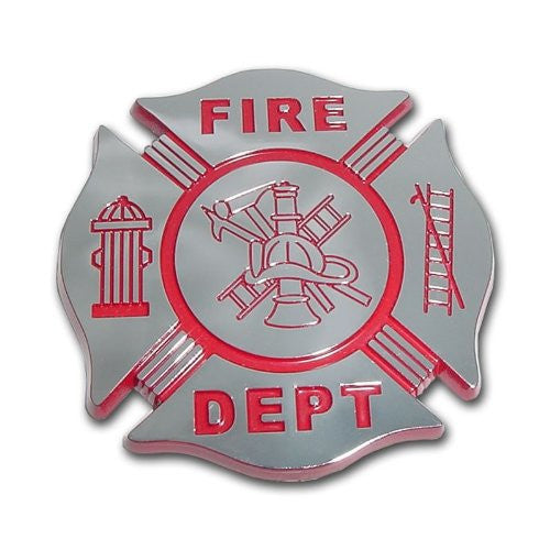 Firefighter Chrome Auto Emblem (RED)