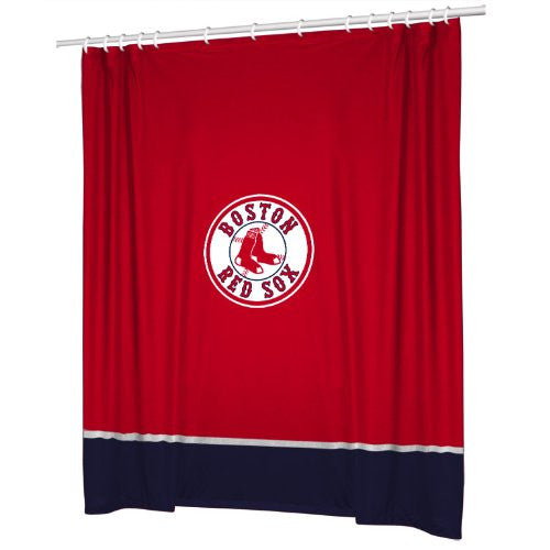 SIDELINES SHOWER CURTAIN - Boston Red Sox- Color Bright Red - Size 72x72