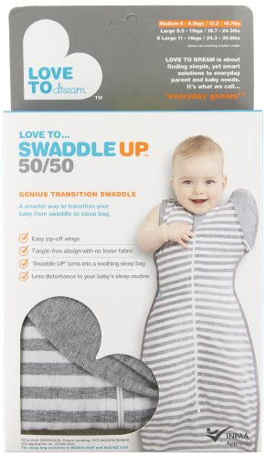 Love To Dream Swaddle UP- 50/50- Gray Stripe- Medium 13 - 18.5 lbs