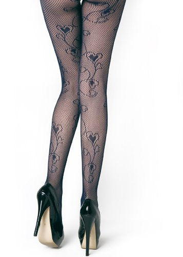 Yelete Floral Hearts Colored Fishnet Pantyhose - Navy