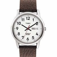 Men's Easy Reader Silver Tone Case Brown Leather Band Watch