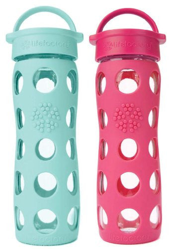 2-Pack Lifefactory 16-Ounce Beverage Bottles- Raspberry and Turquoise