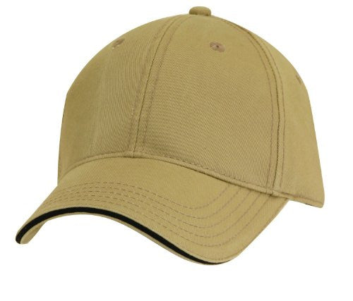 Dorfman Pacific Mens Cotton Adjustable Structured Baseball Cap (Khaki Black)