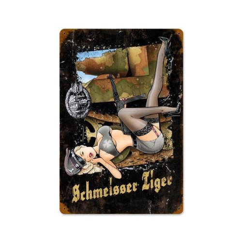 """Schmeisser Tiger"" Metal Sign 12x18 in"