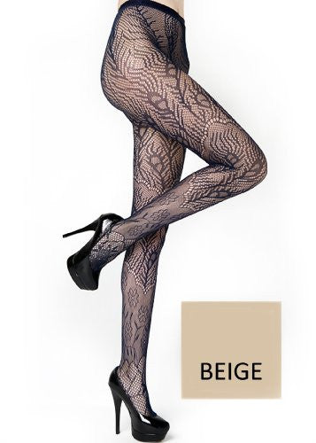 Yelete Peacock Feathers Colored Fishnet Pantyhose - Beige