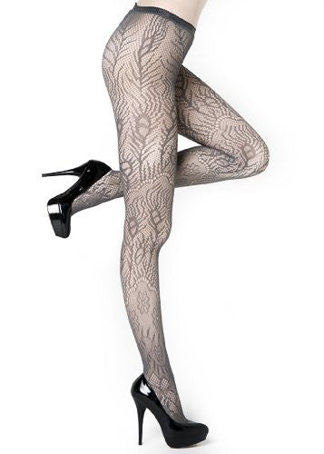 Yelete Peacock Feathers Colored Fishnet Pantyhose - Grey