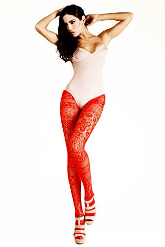 Yelete Moulin Rouge French Lace Colored Fishnet Pantyhose - Red