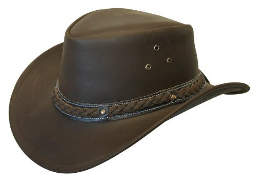 Crushable Black Leather Australian Hat - Brown, Medium