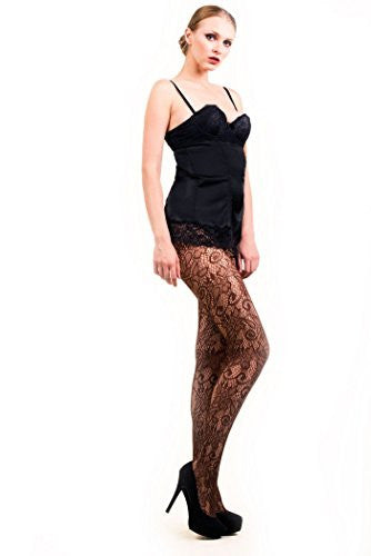 Yelete Retro Floral Vines Colored Fishnet Pantyhose - Coffee