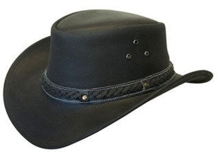 Crushable Black Leather Australian Hat - Brown, Small