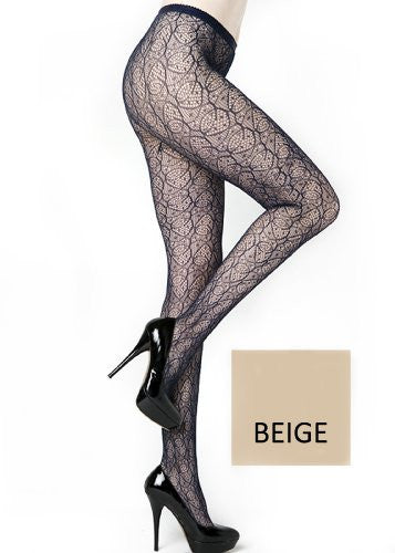 Yelete Spirograph Pattern Colored Fishnet Pantyhose - Queen - Beige