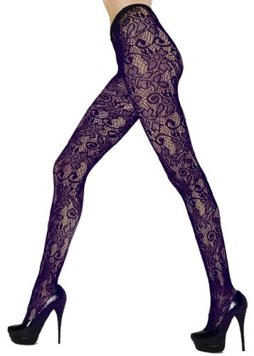 Stella Elyse Retro Floral Vines Fishnet Pantyhose (Purple / Queen)