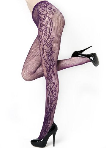 Stella Elyse Outer Flower Blossom Vines Fishnet Pantyhose (Purple / Queen)