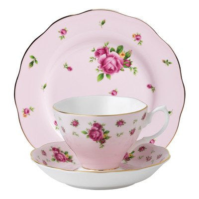 NEW COUNTRY ROSES PINK 3-PIECE SET (TEACUP, SAUCER & PLATE)