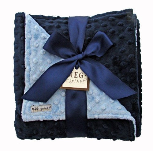Navy Blue & Baby Blue Minky Dot Blanket