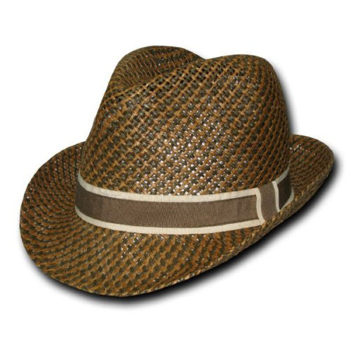 Paper Braid Woven Fedora, Brown (Large/XLarge)