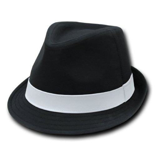 DECKY Basic Poly Woven Fedora Hats (Black / White / Small/Medium)