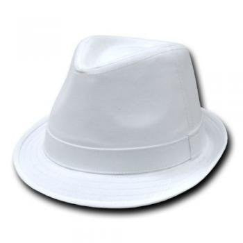 DECKY Basic Poly Woven Fedora Hats (White / White / Small/Medium)