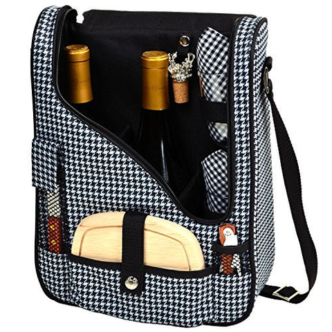 Two Bottle Wine and Cheese Cooler Houndstooth
