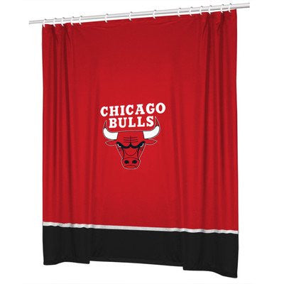 SIDELINES SHOWER CURTAIN Chicago Bulls - Color Bright Red - Size 72x72