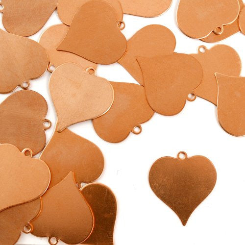"Heart w/ Ring, 7/8""- Stamping Blank - Copper (24pc)"