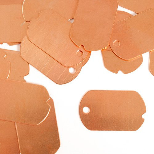 "Dog Tag, Military, 1 1/4""- Stamping Blank - Copper (24pc)"