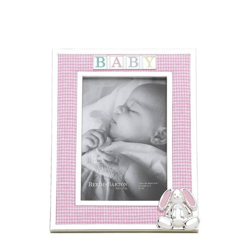 "Gingham Bunny 4 x 6"" Silverplate Frame"