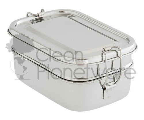 2 Layer Rectangular Stainless Steel Lunch Box