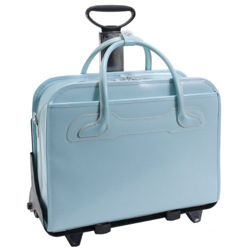 *WILLOWBROOK Leather Detachable‐Wheeled Ladies' Case [PATENTED] Aqua Blue