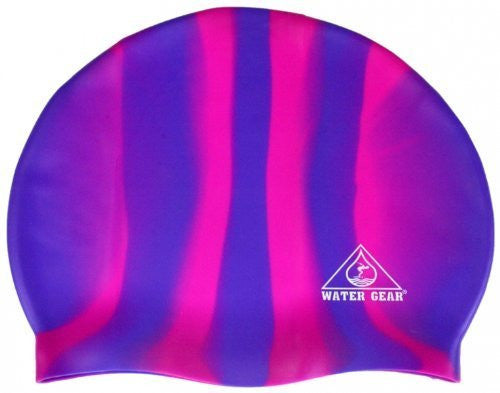 Water Gear Jazz Silicone Swim Cap (Blue/Pink Candy Stripe)