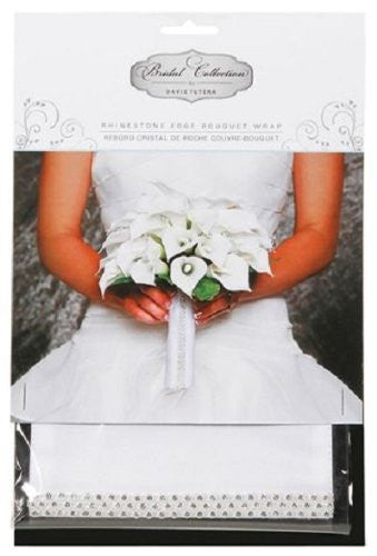 David Tutera White Satin Bouquet Wrap with Rhinestones